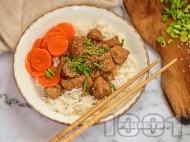 Рецепта Пиле терияки със соев сос, мед, чесън, джинджифил и мирин в уред за бавно готвене Slow Cooker
